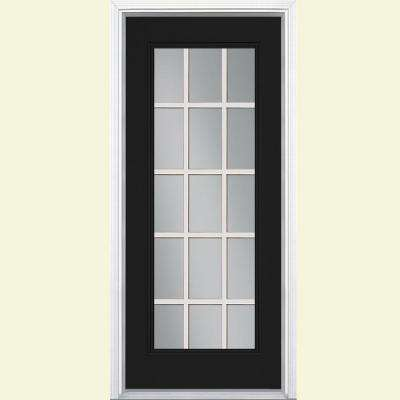15 lite painted steel prehung front door with brickmold - Exterior Steel Doors