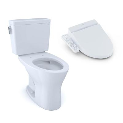 2-Piece 0.8/1.6 GPF Dual Flush Elongated Dynamax Tornado Flush Toilet in Cotton White with A100 Washlet Seat Included