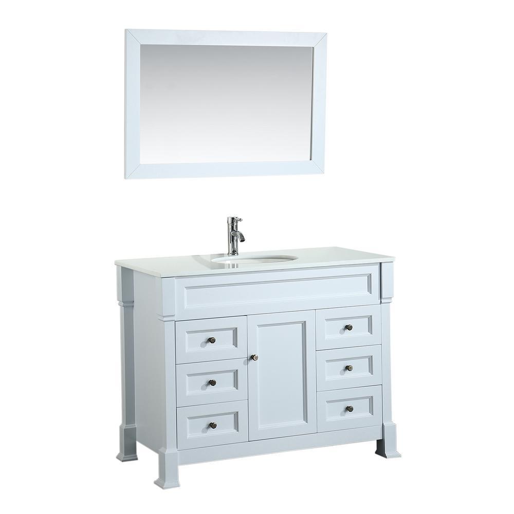 Bosconi Bosconi 43 in. Single Vanity in White with Vanity Top in White in White with White Basin and Mirror