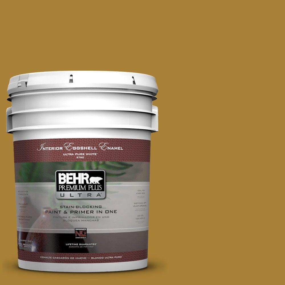 BEHR Premium Plus Ultra 5-gal. #340D-7 Golden Green Eggshell Enamel Interior Paint