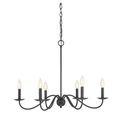 6-Light Aged Iron Chandelier
