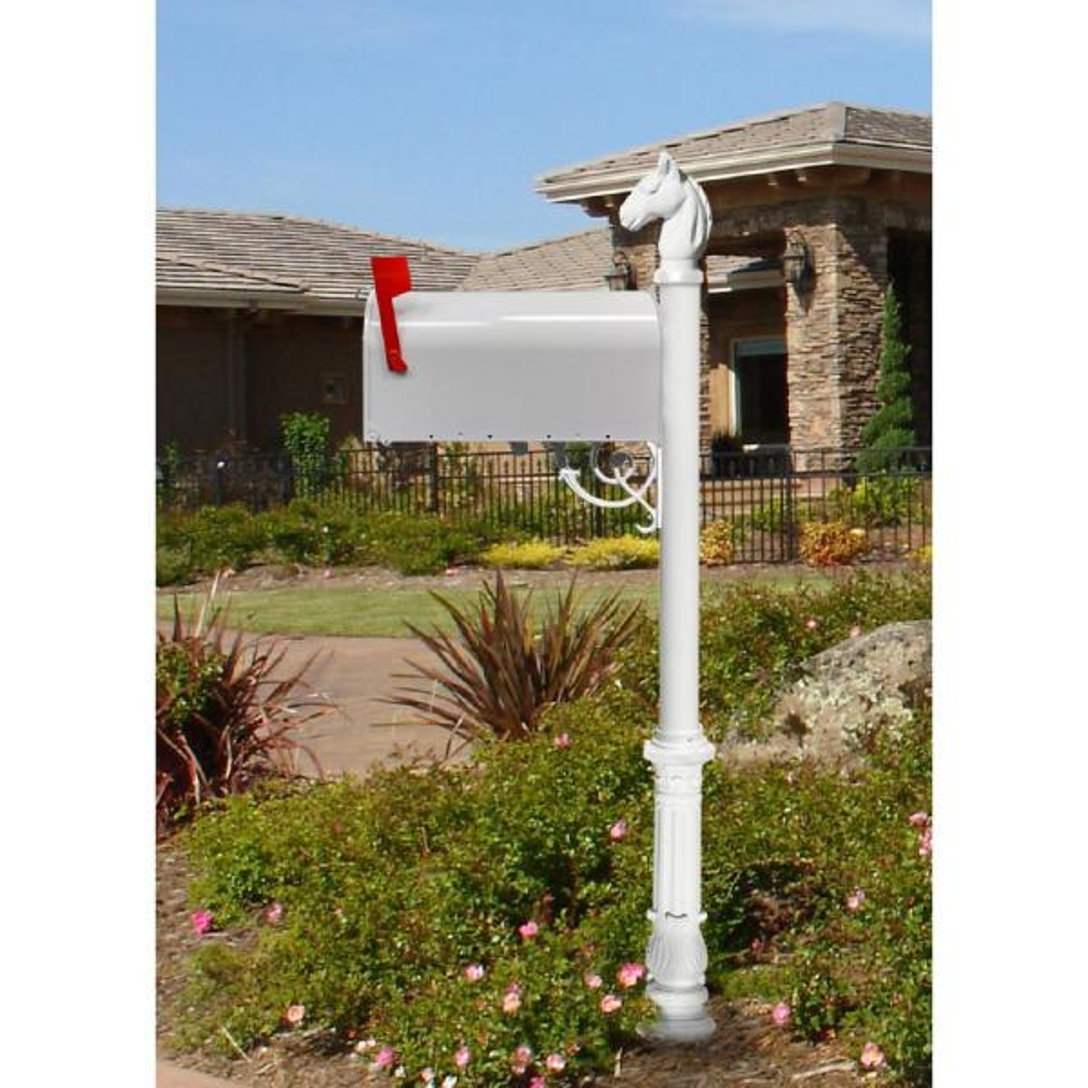 Lewiston White Decorative Post Mounted Mailbox System With Non Locking E1 Economy Mailbox Lpst 701 E1 Wht The Home Depot