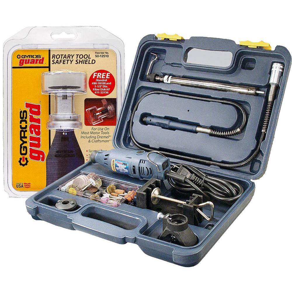 Gyros PowerPro Variable Speed Rotary Tool Kit with GyrosGuard Safety Shield