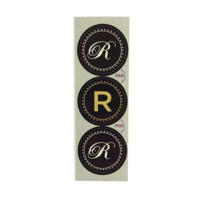 R Monogram Decorative Bathroom Sink Stopper Laminates (Set of 3)