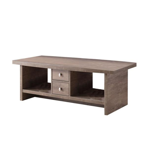 47 in. Hazelnut Large Rectangle Wood Coffee Table with Storage