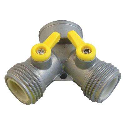 Zinc Double Shutoff Y Hose Connector