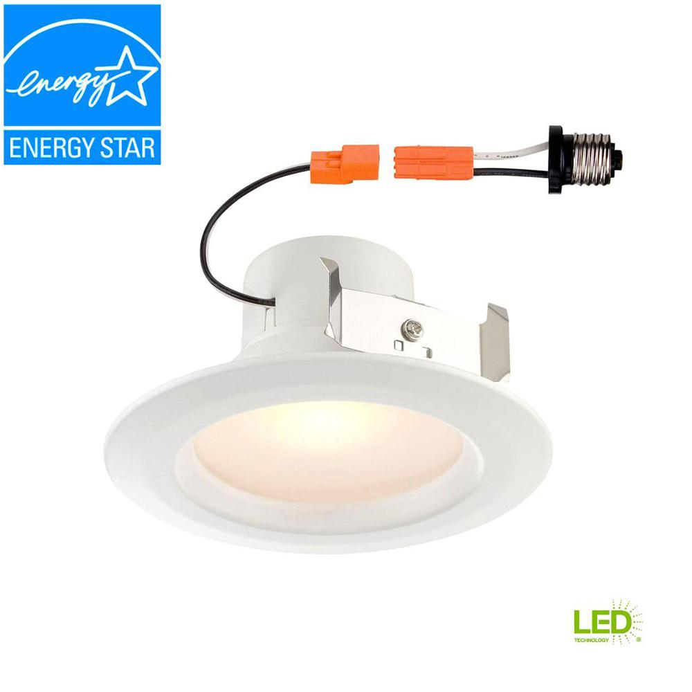 Envirolite 6 In Bright White Led Easy Up Recessed Ceiling Light Wiring A Simple Lighting Circuit Sparkyfactscouk Standard Retrofit 4 Trim Soft