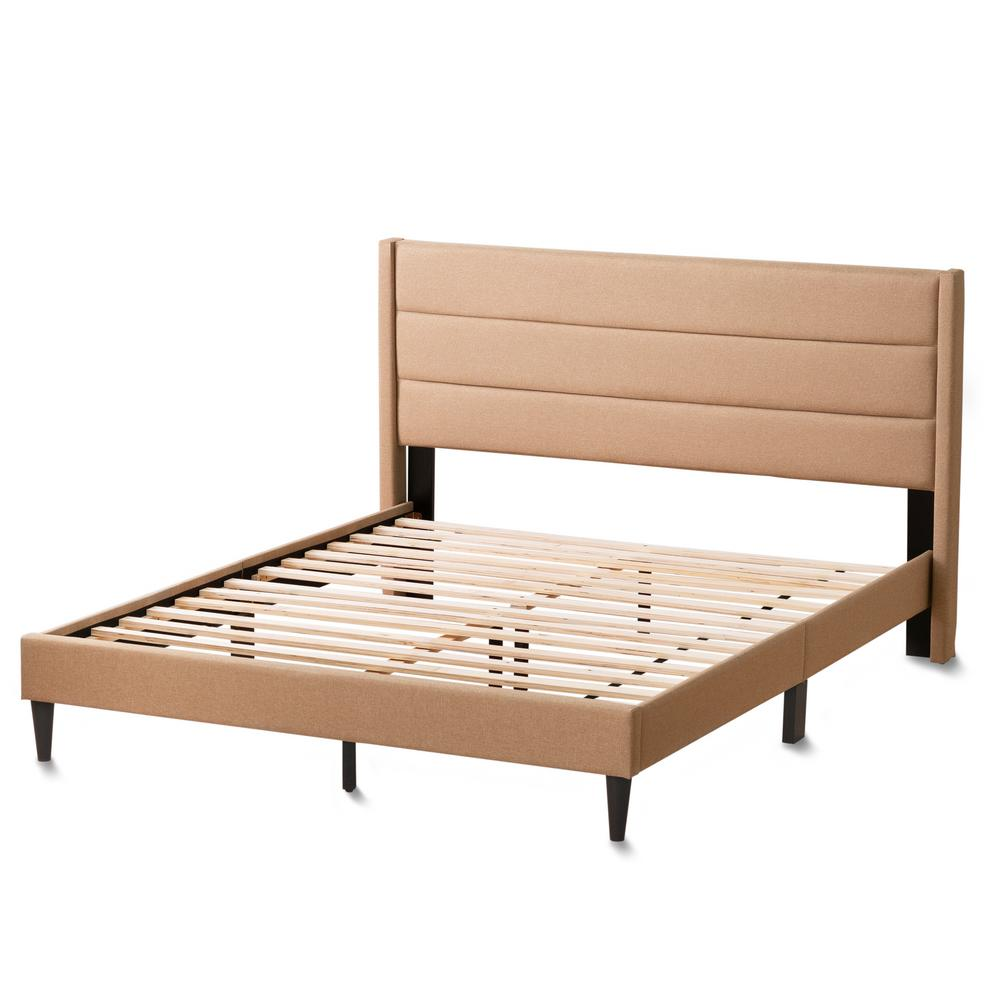 Sara Beige Cal King Upholstered Bed with Horizontal Channels