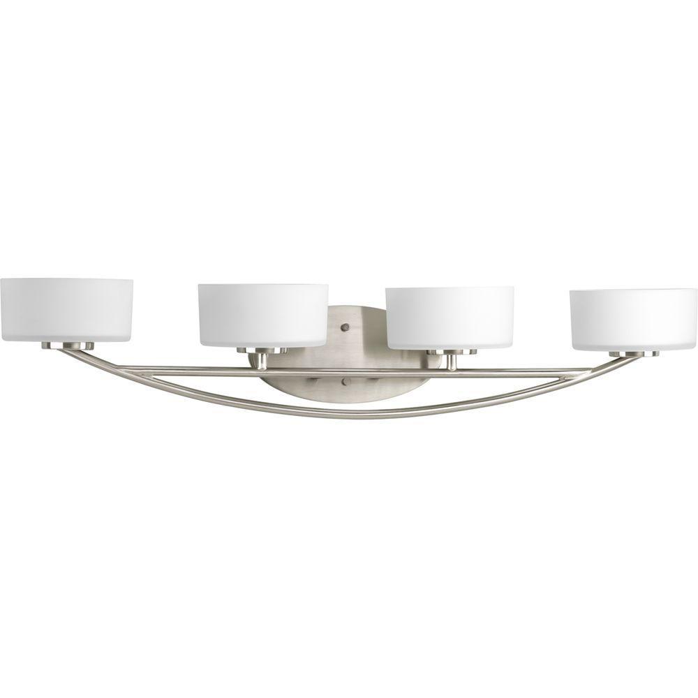 Progress Lighting Calven Collection 4-Light Brushed Nickel Bath Light
