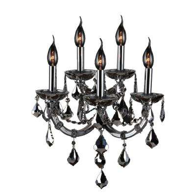 Lyre Collection 5-Light Chrome with Chrome Crystal Sconce
