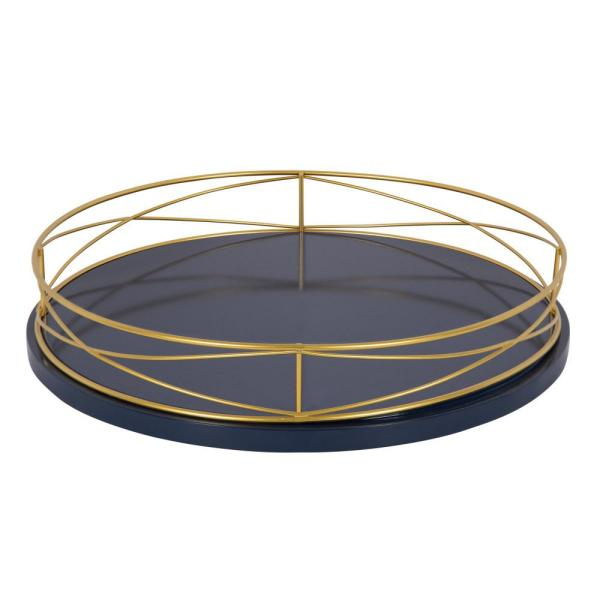 Kate and Laurel Mendel Blue/Gold Decorative Tray 213142