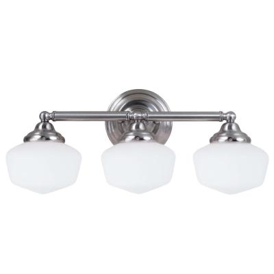 Academy 3-Light Brushed Nickel Vanity Light with LED Bulbs