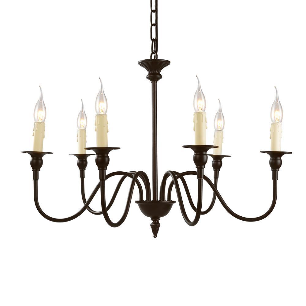 6-Light Bronze Candle Chandelier