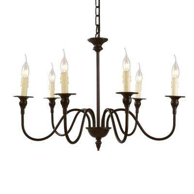 6-Light Bronze Candle Chandelier