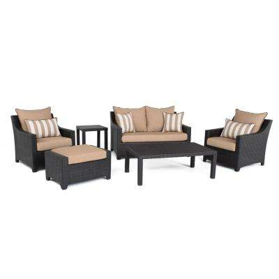 Deco 6-Piece All-Weather Wicker Patio Love and Club Deep Seating Set with Spa Blue Cushions
