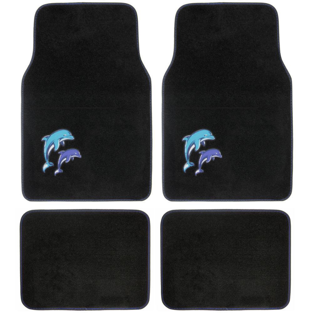 BDK Blue Dolphins MT-515 Design 4 Pieces Carpet Car Floor Mats by BDK
