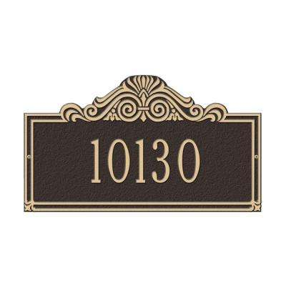 Villa Nova Rectangular Bronze/Gold Standard Wall One Line Address Plaque