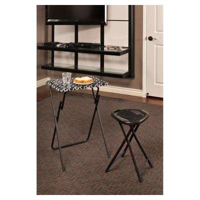 Park Place Black and white Tray Side Table (Set of 2)