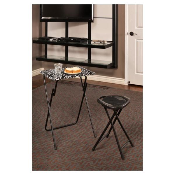 Atlantic Park Place Black and white Tray Side Table (Set of 2)