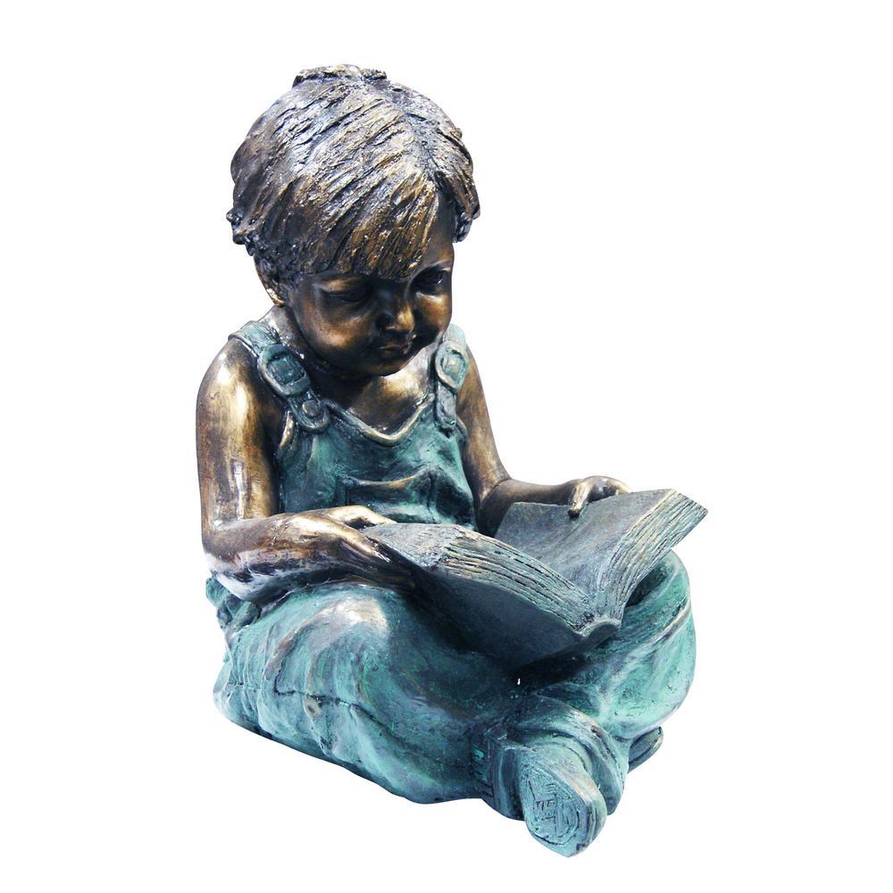 "Alpine Corporation 19"" Tall Indoor/Outdoor Boy Sitting Down Reading Book Statue Set Yard Art Decoration"