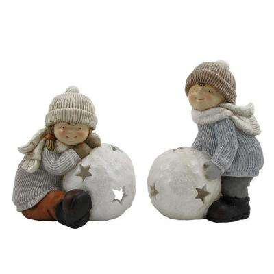 Set of 2 Children with Snowball Candleholders