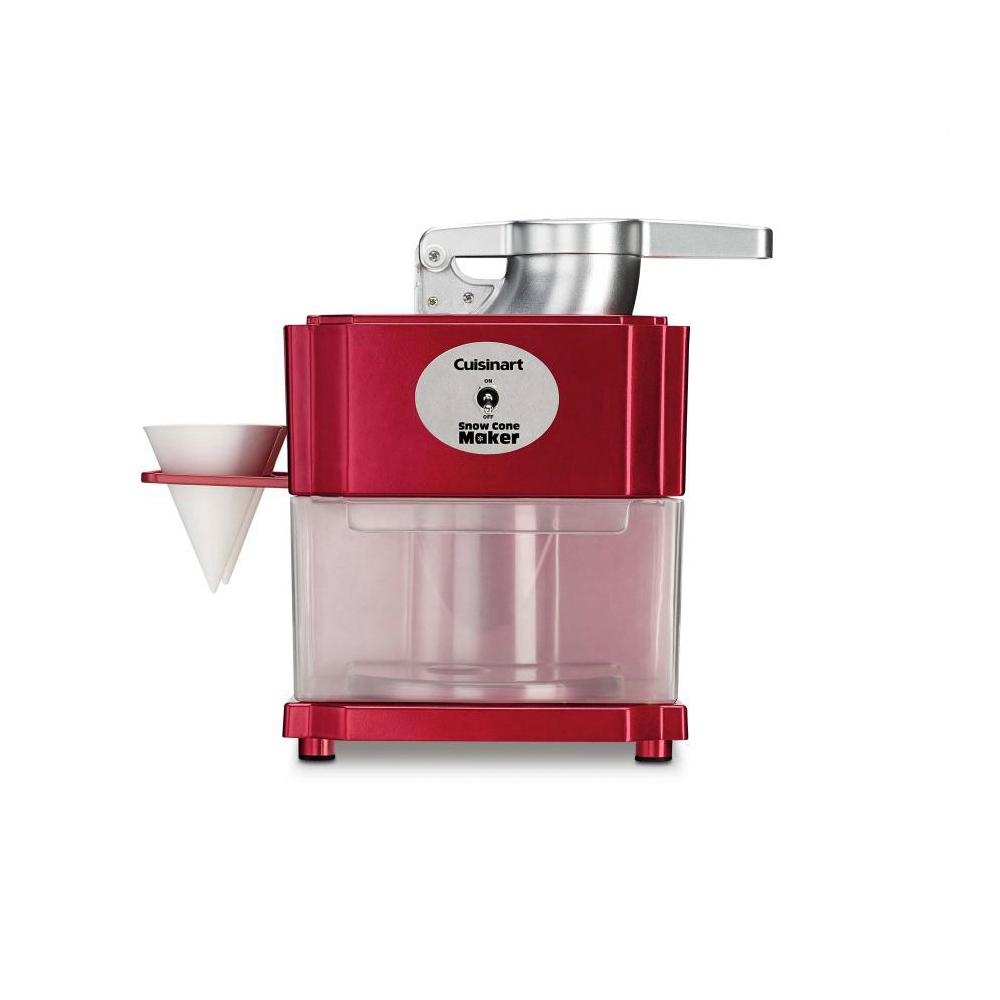 Cuisinart Snow Cone Maker, Red All you need is ice, flavored syrup and a Cuisinart Snow Cone maker to enjoy fun, icy treats at home, any time. It's easy and safe to operate too. Makes 4 to 5 cones in just minutes. You and the kids can entertain the whole neighborhood. Color: Red.