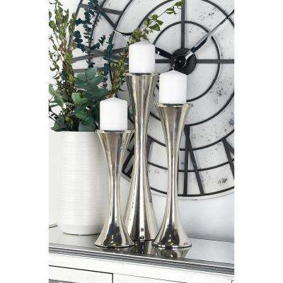 Silver Aluminum Hourglass-Shaped Candle Holders (Set of 3)