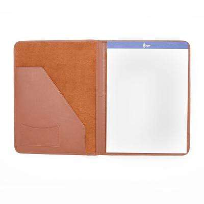 Genuine Leather Luxury Suede Lined Writing Portfolio, Tan