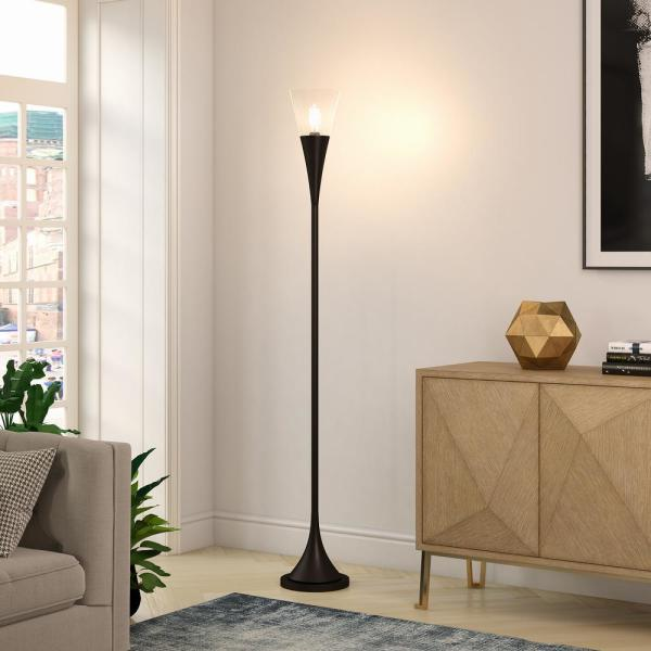 Meyer Cross Moura 72 In Blackened Bronze Torchiere Floor Lamp Fl0145 The Home Depot