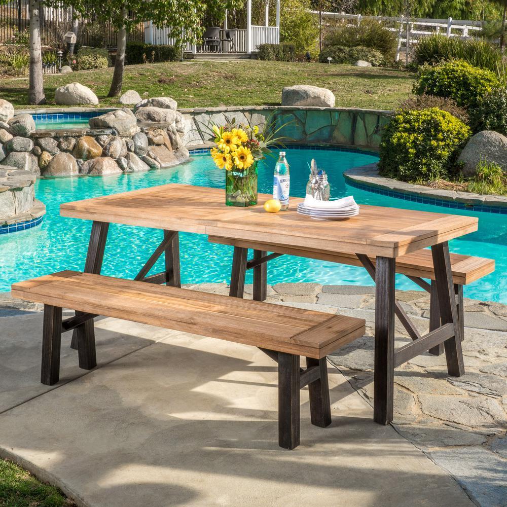 Boracay Teak Finish/Brushed Grey 3-Piece Wood Outdoor Dining Set