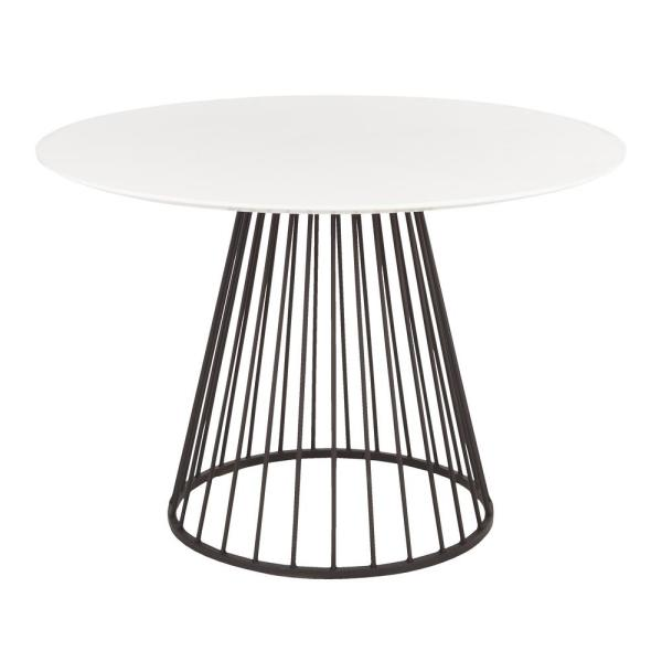 Canary White And Black Round Dining Table