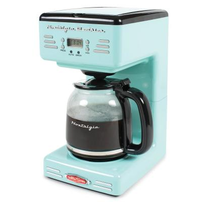 12-Cup Blue Coffee Maker with Pause and Serve Function