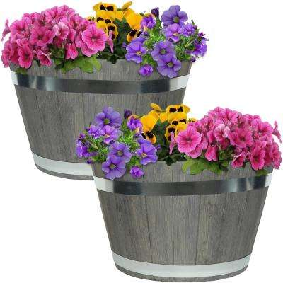Chateau 20 in. Gray Fiber Clay Round Barrel Durable Indoor/Outdoor Planter Flower Pot (Set of 2)