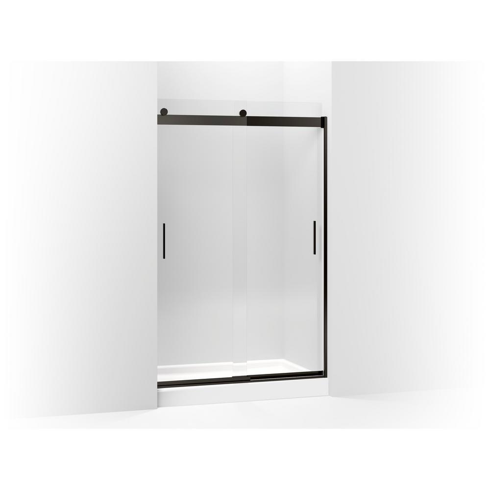 Levity 47.625 in. W x 74 in. H Frameless Sliding Shower Door in Anodized Dark Bronze