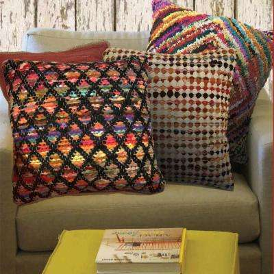 Harlequin Black and Multi Decorative Pillow