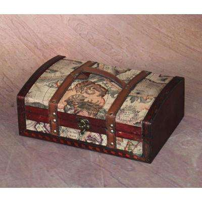 12 in. x 8 in. x 4.5 in. Old World Map Treasure Chest - 12 in. with Top Handle