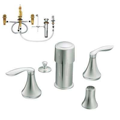 Eva 2-Handle Bidet Faucet Trim Kit with Valve in Chrome