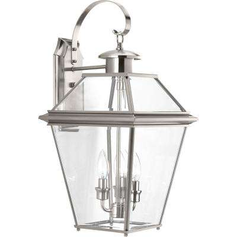 Burlington Collection 3-Light Outdoor Brushed Nickel Wall Lantern