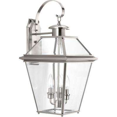Burlington Collection 3-Light 21.9 in. Outdoor Brushed Nickel Wall Lantern Sconce