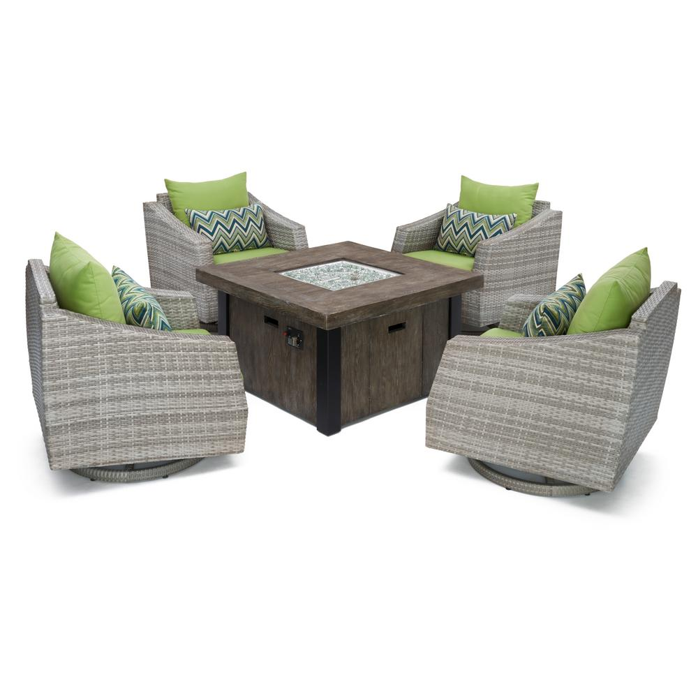 Cannes 5-Piece Motion Wicker Patio Fire Pit Conversation Set with Ginkgo