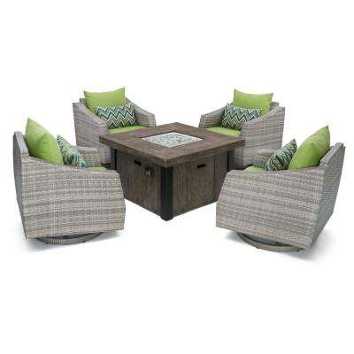 Cannes 5-Piece Motion Wicker Patio Fire Pit Conversation Set with Ginkgo Green Sunbrella Cushions
