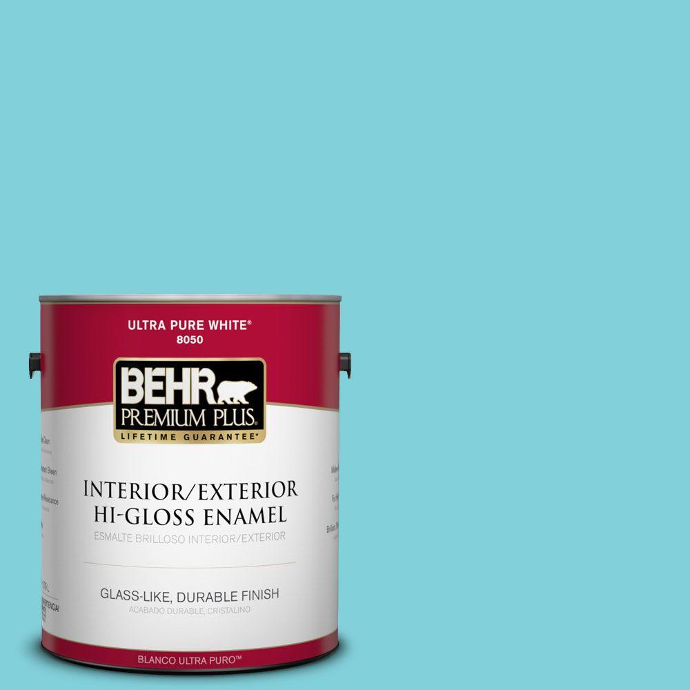 BEHR Premium Plus 1-gal. #P470-3 Sea of Tranquility Hi-Gloss Enamel Interior/Exterior Paint