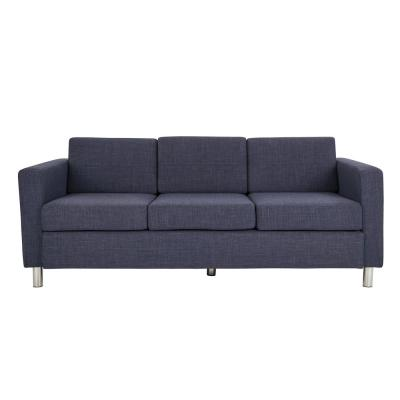 Pacific Navy Fabric Sofa with Chrome Legs
