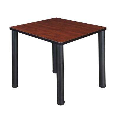 Kee 30 in. Cherry/Black Square Breakroom Table