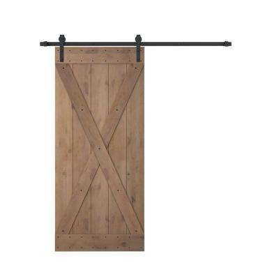 36 in. x 84 in. X Overlay Primed Natural Wood Finish Sliding Barn Door with Sliding Door Hardware Kit