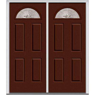 60 in. x 80 in. Heirloom Master Left-Hand 1/4 Lite 4-Panel Classic Painted Fiberglass Smooth Prehung Front Door