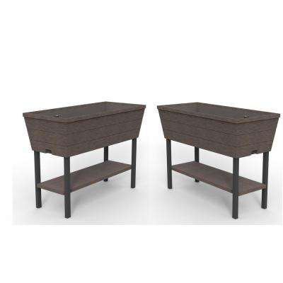 Urban Bloomer 32.3 in. L x 30.7 in. H Brown Resin Raised Garden Bed (2-Pack)