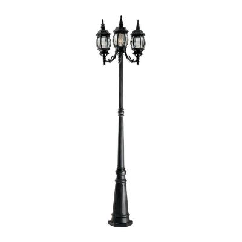 Riviera 3-Light Black Outdoor Incandescent Post Lantern