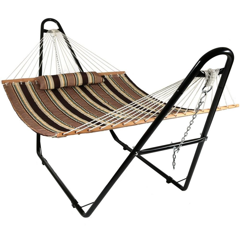 Sunnydaze Decor 11 34 Ft Quilted 2 Person Hammock With Multi Use Universal Stand In Sandy Beach