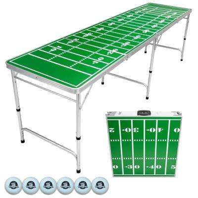 8 ft. Foldable Football Beer Pong Party Game Table Lightweight Aluminum Design Indoor Outdoor Portable Drinking